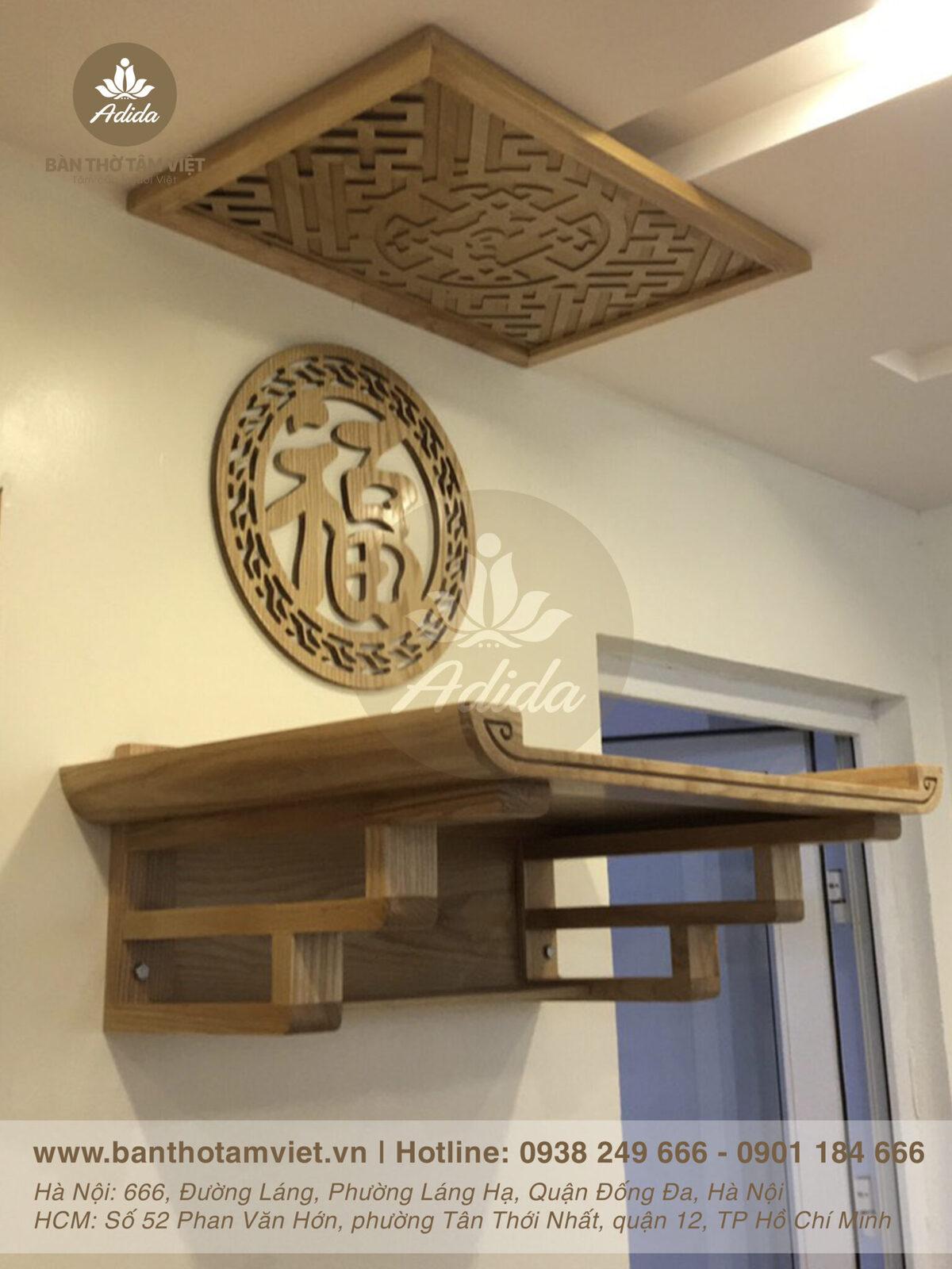 Mẫu bàn thờ treo tường gia tiên gỗ Gụ