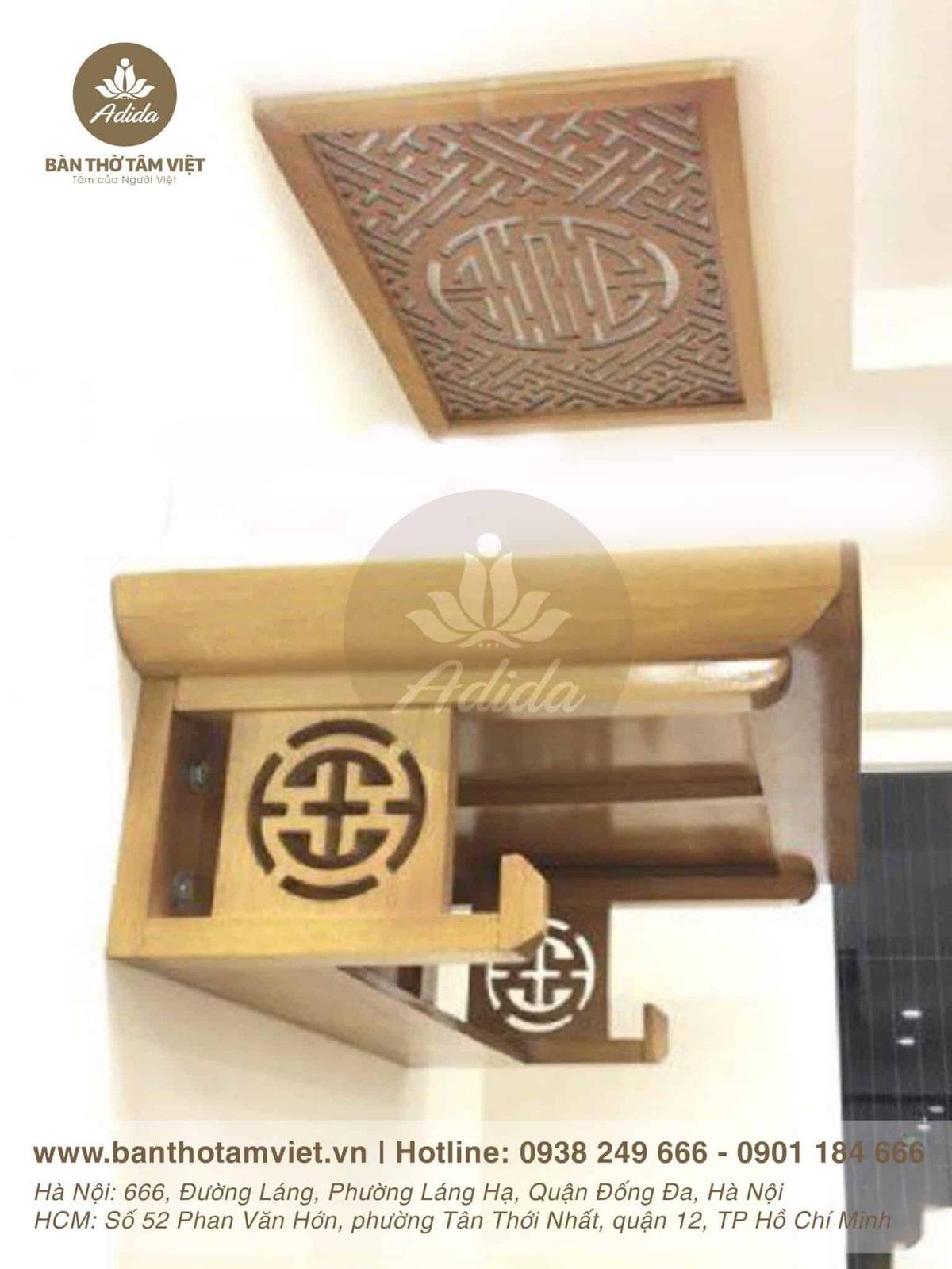Mẫu bàn thờ treo tường gia tiên gỗ hương
