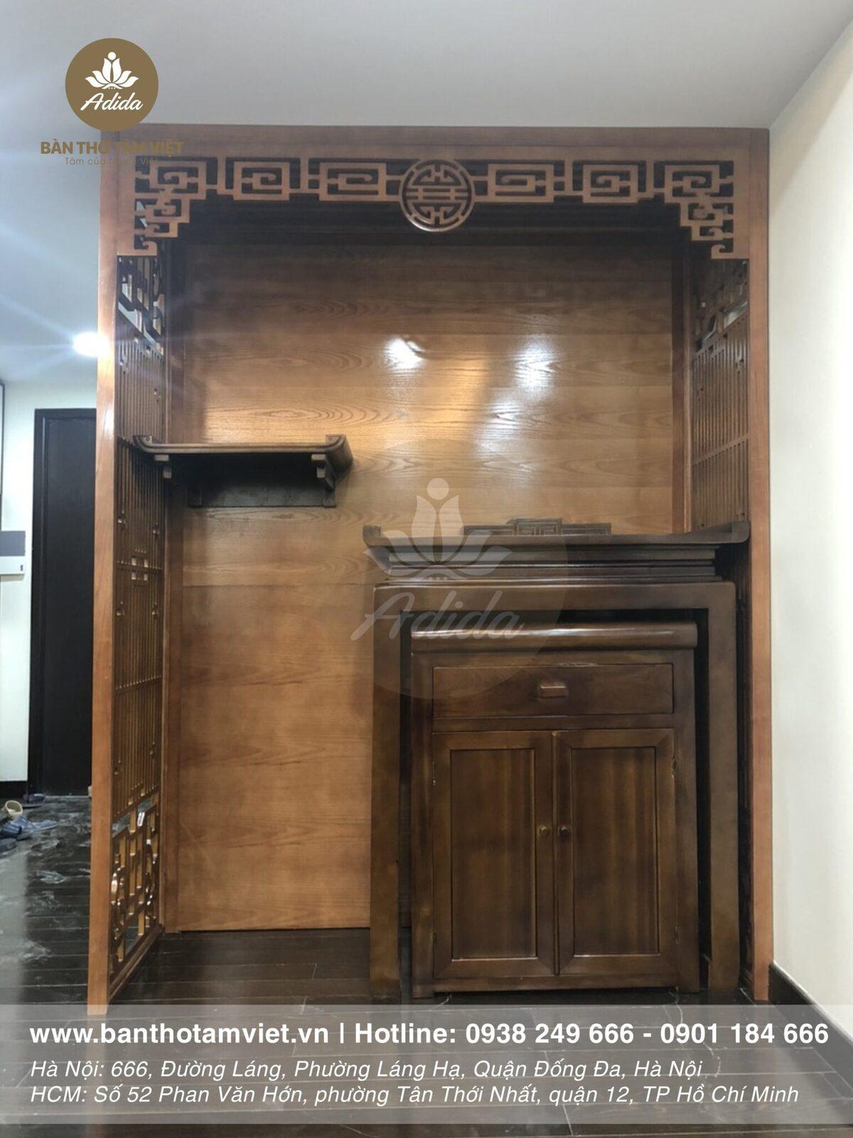 Tủ thờ gia tiên gỗ sồi