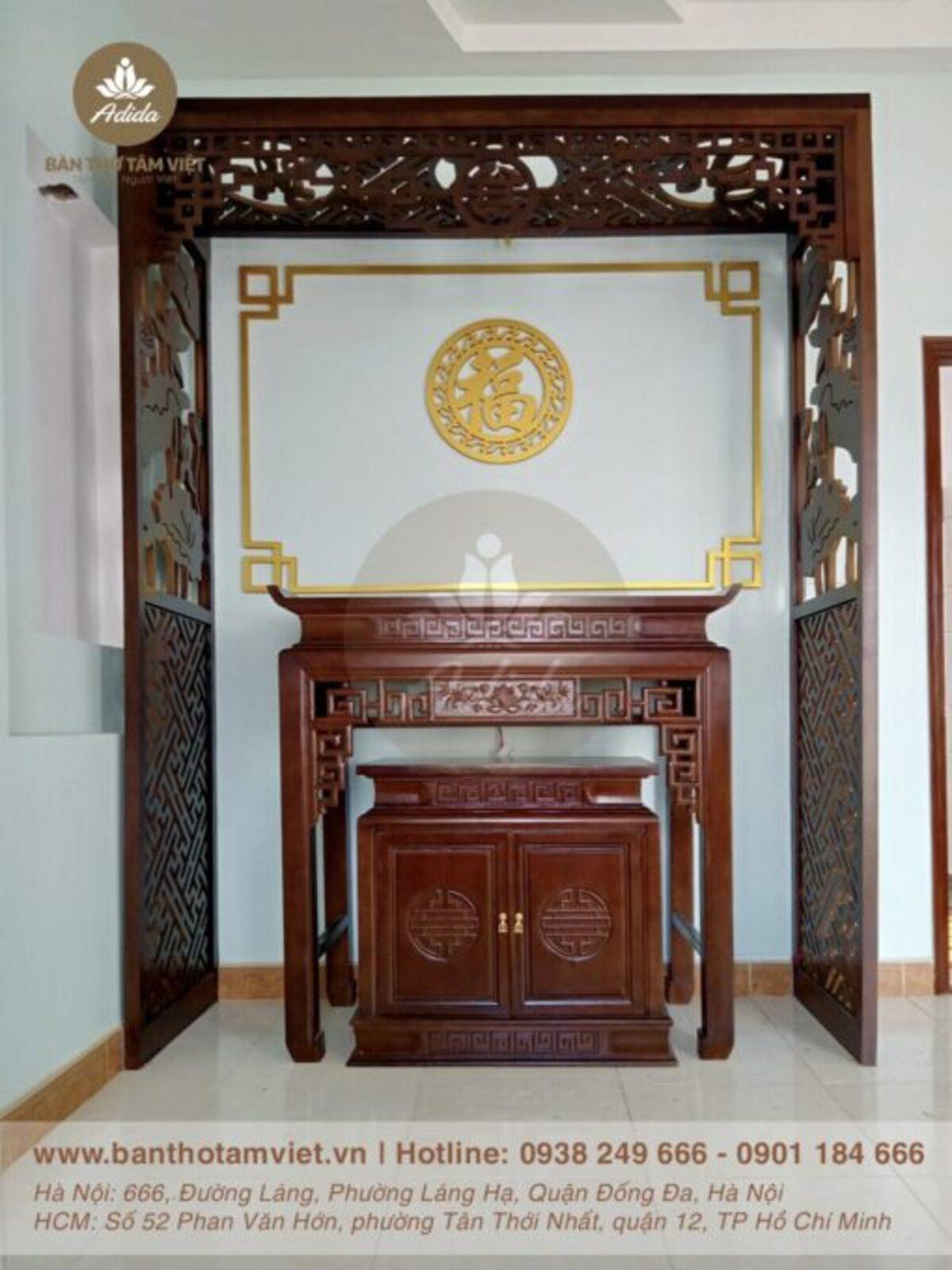 Mẫu Bàn thờ đứng gia tiên gỗ gụ đẹp