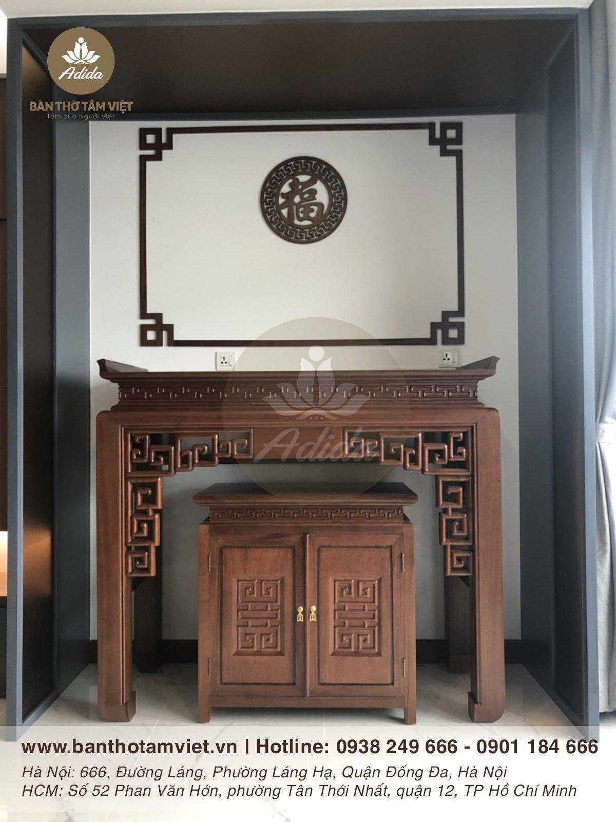 Mẫu bàn thờ đứng gia tiên gỗ sồi đẹp