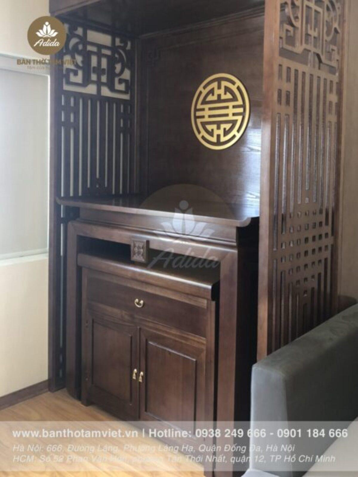 Mẫu Tủ thờ đẹp hiện đại chung cư gỗ Sồi