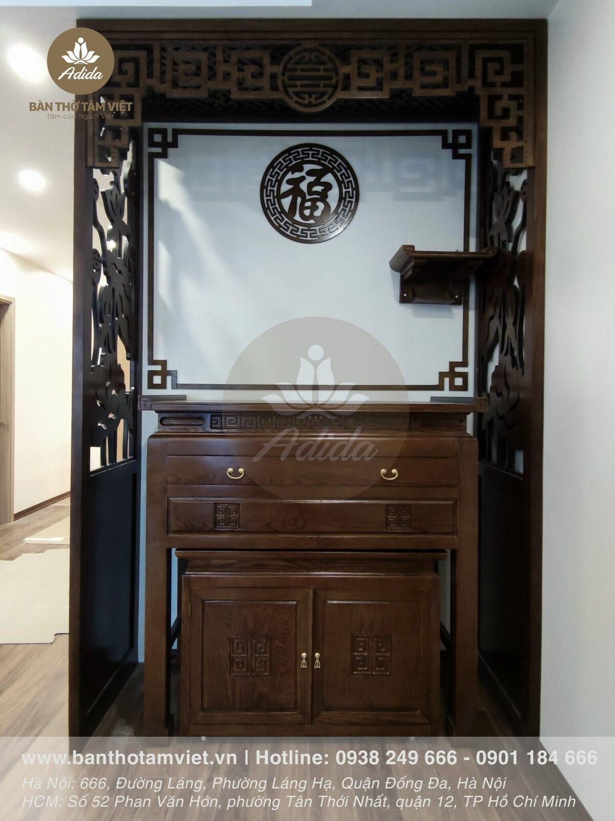 Mẫu tủ thờ gia tiên gỗ gụ tự nhiên