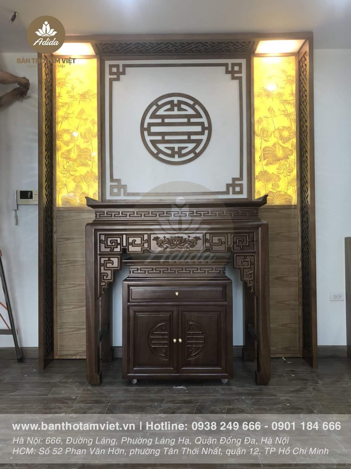 Mẫu bàn thờ đứng chung cư gỗ gụ giá rẻ