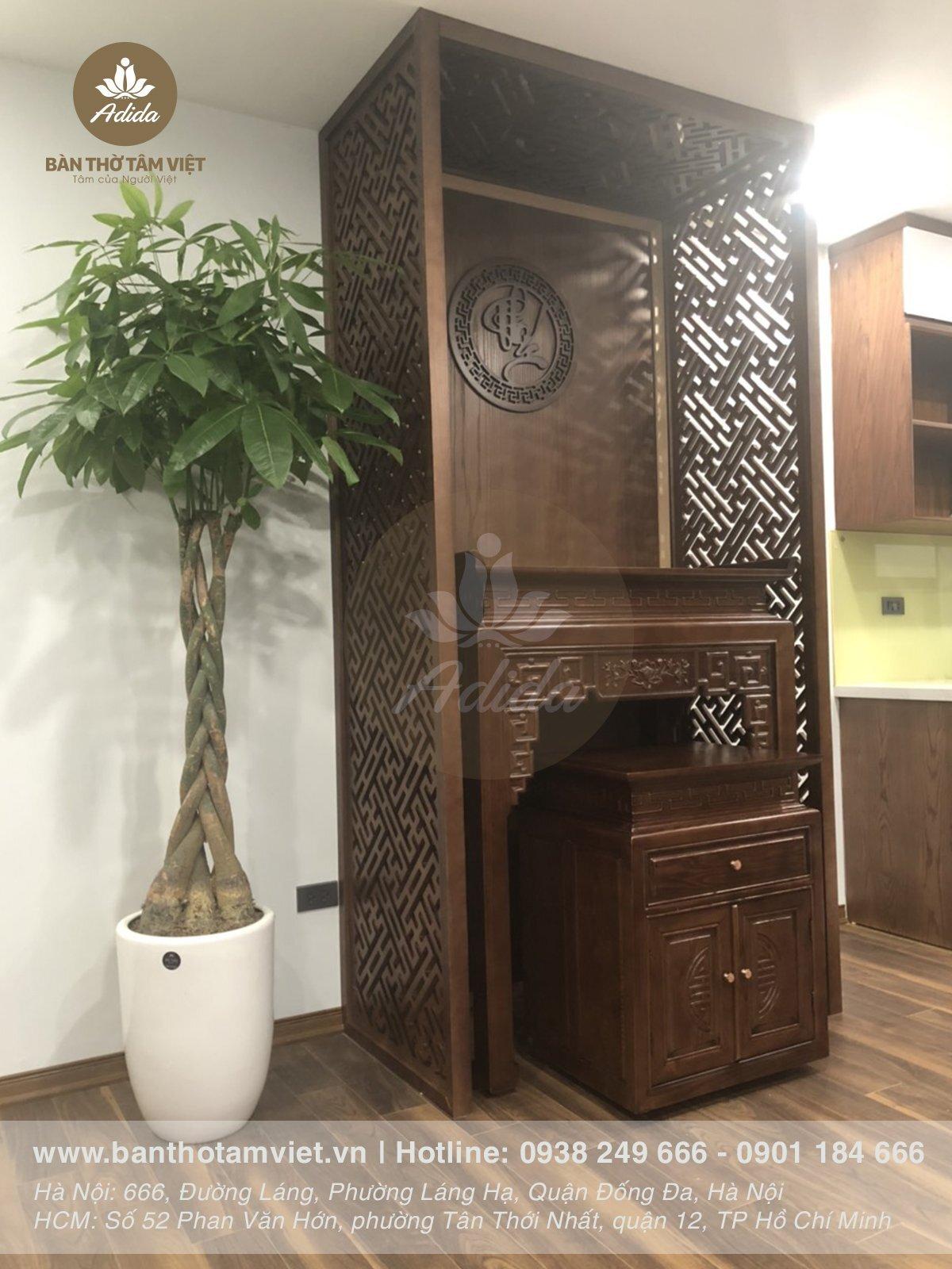 Mẫu bàn thờ đứng gia tiên gỗ sồi giá tốt