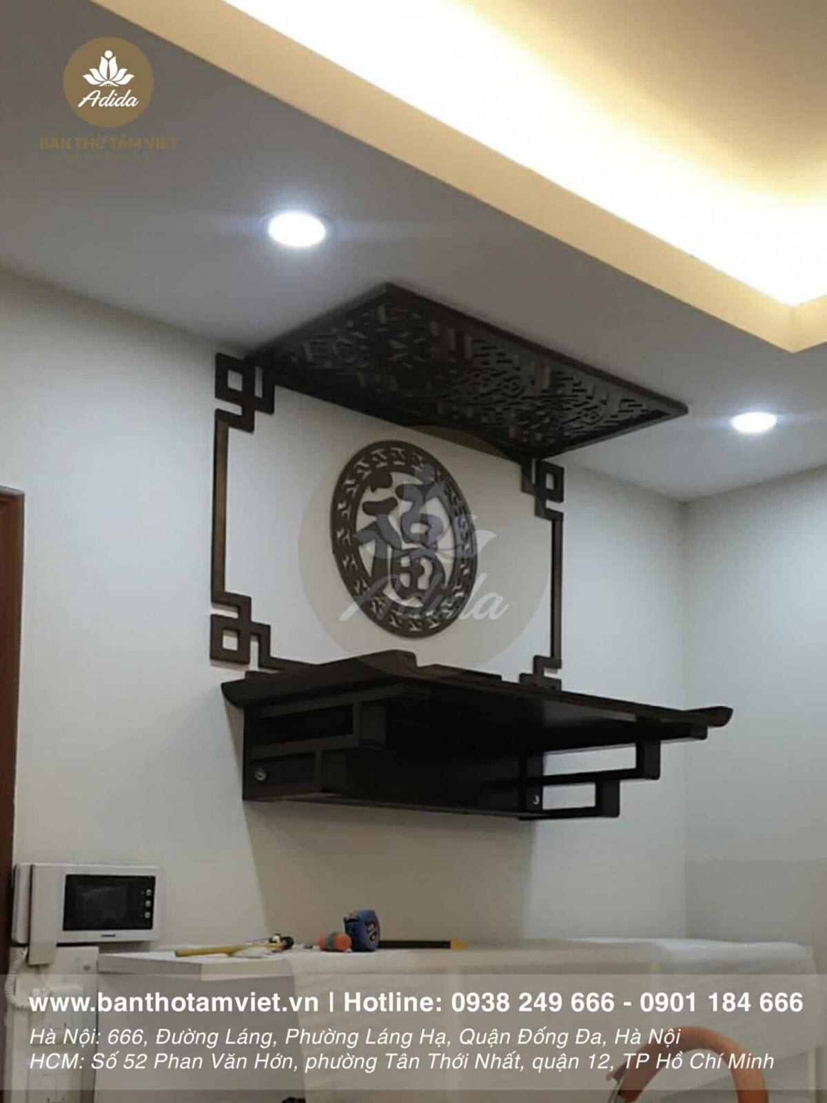 Bàn thờ treo tường chung cư đẹp hiện đại hợp phong thủy giá rẻ