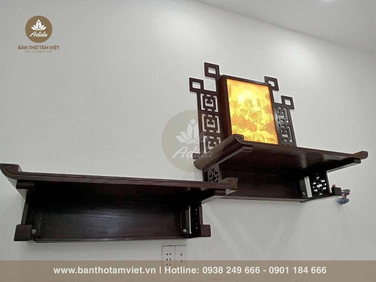 Mẫu bàn thờ treo tường chung cư gỗ Hương